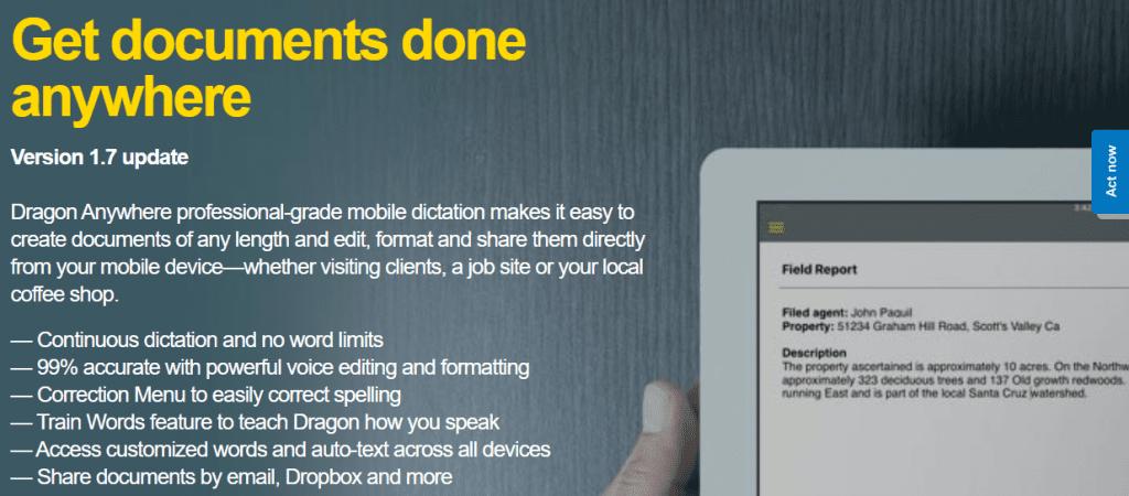 DragoNaturally Speaking app for writers